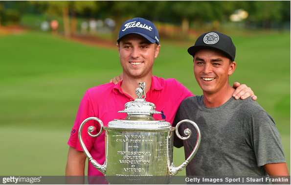 Justin Thomas and friend Rickie Fowler.