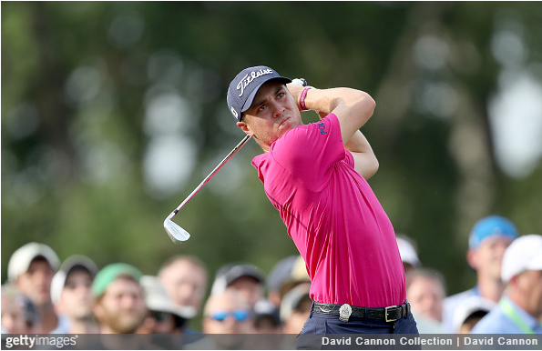 Justin Thomas swings in the final round in Charlotte.