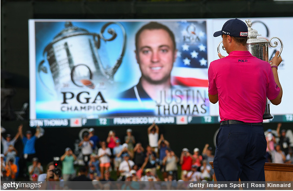 The sign says it all. Justin Thomas, PGA Champion.