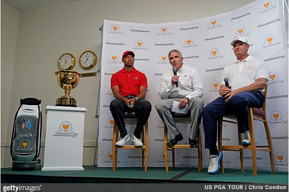 Tiger Woods and Ernie Els Presidents Cup captains 2019 matches in Melbourne
