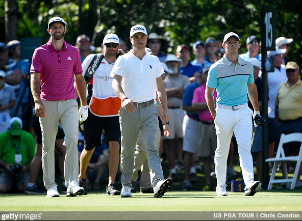 Dustin Johnson, Justin Thomas, Rory McIlroy