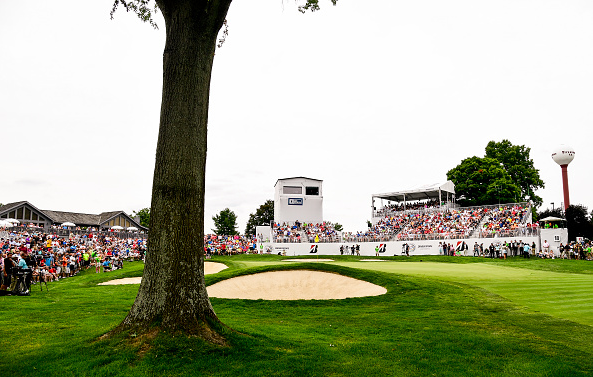 18th hole during the 2016 World Golf Championships-Bridgestone Invitational at Firestone Country Club