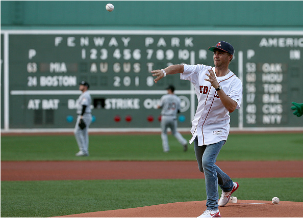 Justin Thomas throws out the first pitch at Fenway Park