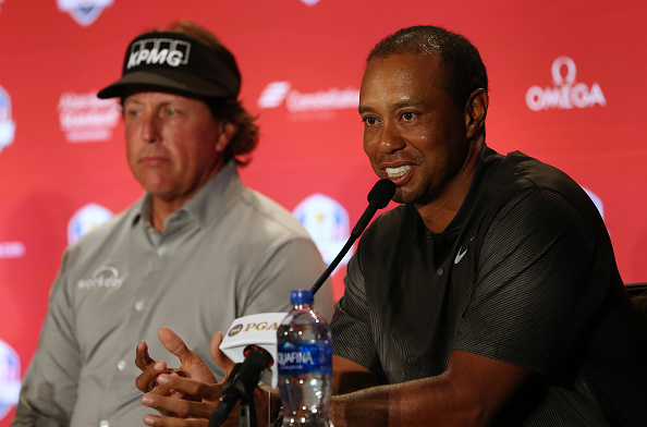 Tiger Woods with Phil Mickelson