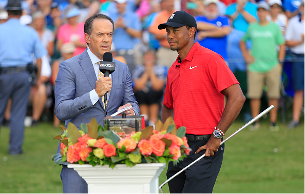 Tiger Woods Interviewed By NBC Dan Hicks