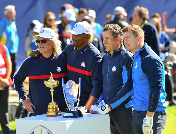 Actors Kurt Russell, Samuel L. Jackson comedian Dany Boon and footballer Brian O'Driscoll 2018 Ryder Cup
