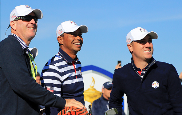 Caddie Joe Lacava, Tiger Woods, and Justin Thomas Ryder Cup