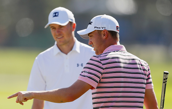 Jordan Spieth talks with Justin Thomas