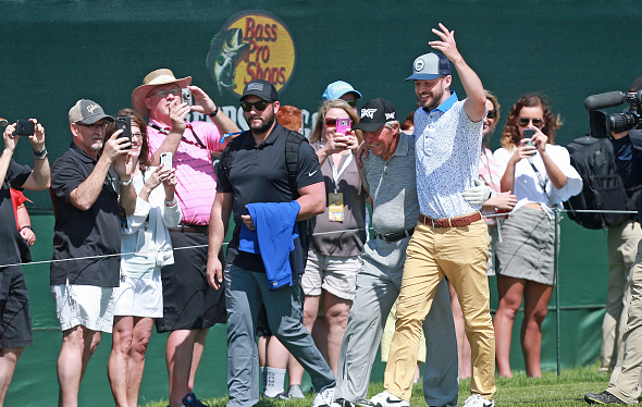 Justin Timberlake walks with Gary Player Bass Pro Shops Legends of Golf at Big Cedar Lodge