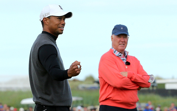 Tiger Woods and Tom Weiskopf