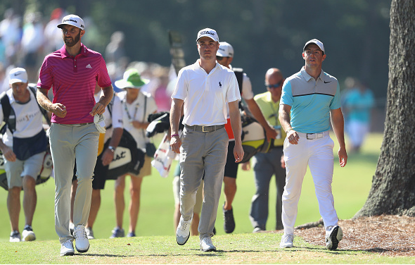 Dustin Johnson, Justin Thomas, and Rory McIlroy