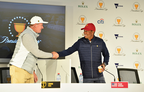 International Team Captain Ernie Els and U.S. Team captain Tiger Woods