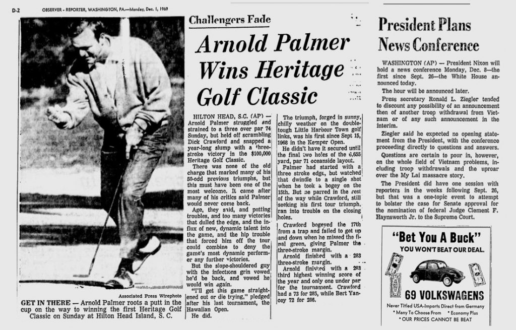 Arnold Palmer Wins the Heritage Golf Classic
