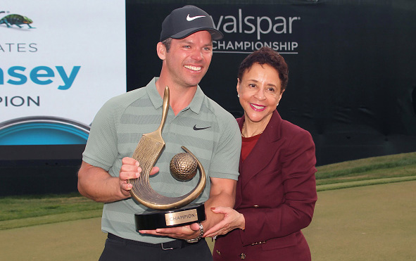 Valspar champion Paul Casey and Innisbrook owner Sheila Johnson