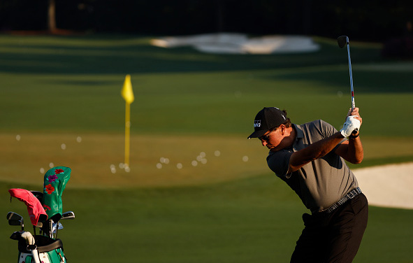 Phil Mickelson Practices Ahead of the 2021 Masters Tournament at Augusta National Golf Club