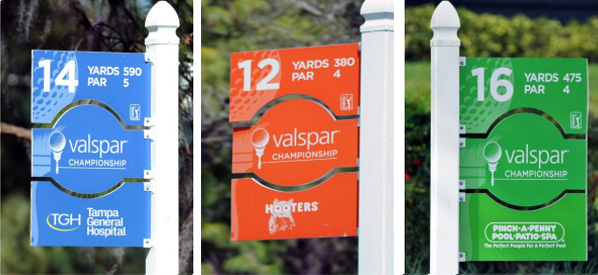 Tee box hole signs of the Valspar Championship