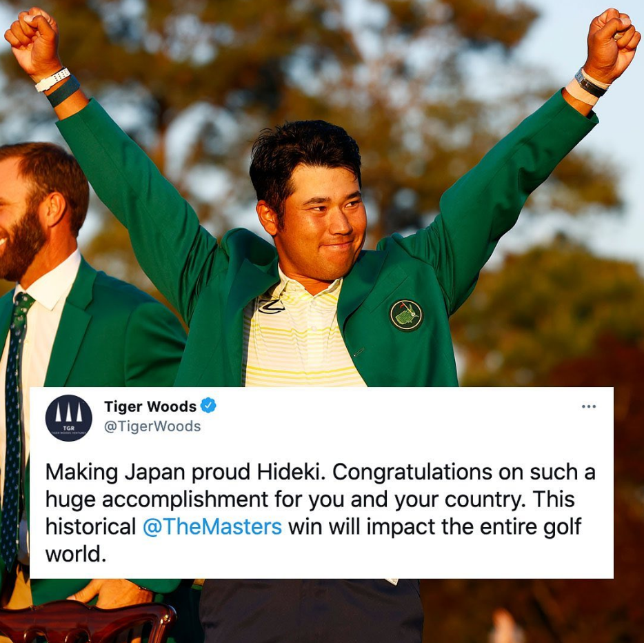 Tiger Woods sent congratulations to Hideki Matsuyama after he won the Masters.