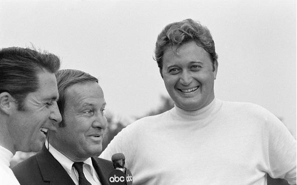 Gary Player, CBS sportscaster Jim McKay, and Ray Floyd