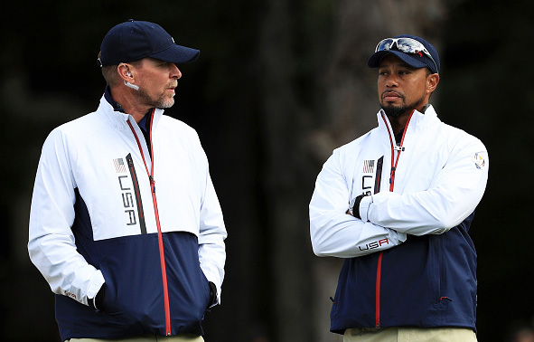 Vice-captains Steve Stricker and Tiger Woods