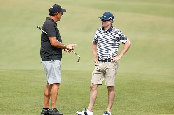Phil Mickelson talks to Zach Johnson 103rd PGA Championship at Kiawah Island Resort's Ocean Course