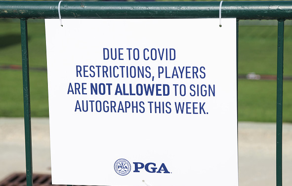 COVID Sign 2021 PGA Championship at Kiawah Island Resort's Ocean Course