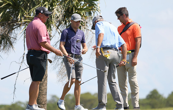 Justin Thomas with caddie Jimmy Johnson and father coach Mike Thomas Day 2 Practice 2021 PGA Championship at Kiawah Island Resort's Ocean Course