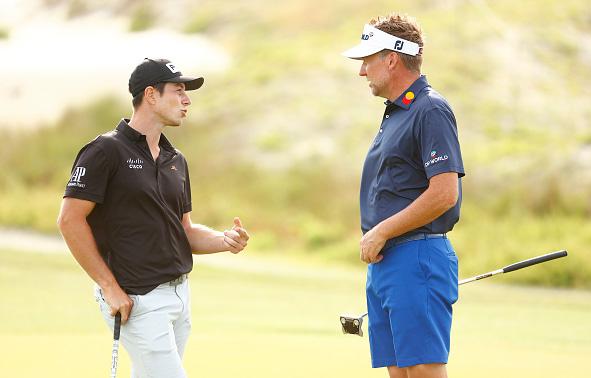 Viktor Hovland talks to Ian Poulter 103rd PGA Championship at Kiawah Island Resort's Ocean Course