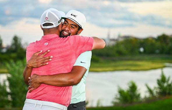 Jon Rahm Congratulates Tony Finau THE NORTHERN TRUST at Liberty National Golf Club